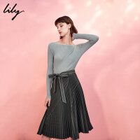 Lily冬女装针织拼接假两件百褶露背连衣裙117420C7519