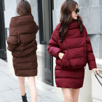 棉衣两件套女冬装新款可爱棉外套潮包臀短裙套装时尚套裙