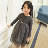 童装宝宝蓬蓬公主裙 女童长袖连衣裙春装2017新款儿童韩版裙子中小 灰 色