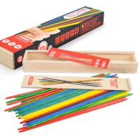 【】彩色游戏棒 传统木质游戏挑棒41根木盒装 怀旧益智游戏