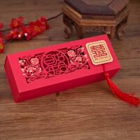 喜糖盒子糖果盒礼盒红色创意流苏长方形抽拉结婚婚礼婚庆用品 镂空荷花抽拉式糖盒