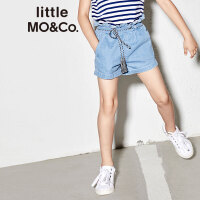 littlemoco夏季新品女童裤子夏装牛仔短裤松紧腰木耳边配绑带