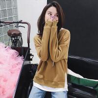 七格格卫衣女连帽长袖秋冬装新2017韩版学生宽松显瘦bf加绒中长款套头衫
