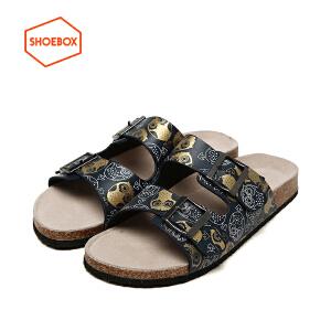 达芙妮旗下SHOEBOX/鞋柜夏季新款休闲凉拖鞋软木底防滑沙滩男鞋子