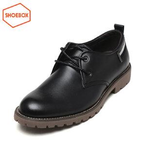 SHOEBOX/鞋柜男鞋男单鞋商务休闲系带皮鞋防滑单鞋