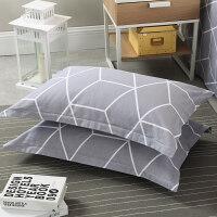 棉枕套一对装棉条纹格子简约单人48*74枕芯套枕头套子 48cmX74cm