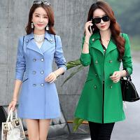 2017春秋季修身大码女式风衣外套25-30-35-40岁的韩版中长款女装