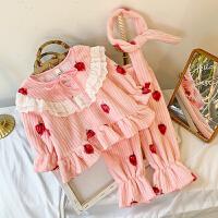 女宝宝家居服套装冬装新款法兰绒睡衣两件套 1-5岁小女孩