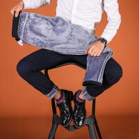 冬季加绒保暖直筒休闲裤男加厚男士宽松裤子高弹力中年爸爸装男裤