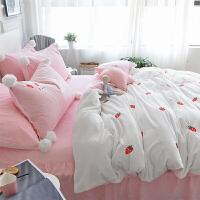 冬季粉色床上四件套公主风加绒法莱绒床单式珊瑚绒法兰绒加厚保暖 草莓 白 床裙款 水晶绒
