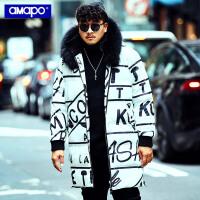 【限时秒杀价:294元】AMAPO潮牌大码男装冬季保暖外套加肥加大码宽松字母满印长款棉服