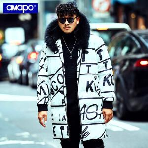 【限时抢购到手价:300元】AMAPO潮牌大码男装冬季保暖外套加肥加大码宽松字母满印长款棉服