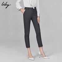Lily2019冬新款时尚通勤修身小脚裤九分显瘦直筒裤休闲裤女5958