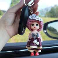 卡通可爱汽车扣钥匙链ins 毛绒书包挂件公仔挂饰链圈环