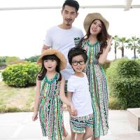 亲子装夏季新款母女沙滩裙全家装短袖T恤套装2018