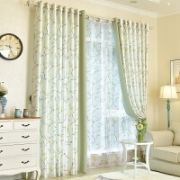 小清新梅花窗帘成品半遮光田园窗帘布简约现代卧室飘窗客厅落地窗