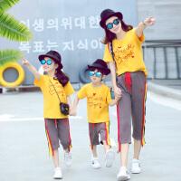 亲子装夏装潮夏季运动套装春装母子母女装一家三口全家装