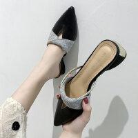 户外时尚女鞋半拖鞋尖头中跟穆勒鞋时尚凉拖鞋外穿
