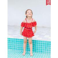 儿童泳衣女孩分体中大童学生可爱公主裙式新款游泳衣套装