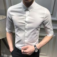 男士中袖衬衫韩版修身纯色中袖衬衣青年时尚夏季寸衫休闲七分袖