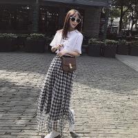 2018春新款�n版黑白格子�L裙雪�chic半身裙女�W生高腰a字裙 黑白格