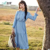 茵曼2018春装新款纯棉提花花边荷叶边文艺连衣裙女【F1881104635】
