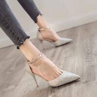 少女仙女风性感露趾中跟小清新一字扣高跟鞋凉鞋女细跟