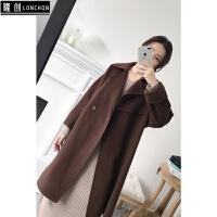 韩版中长款呢子套装大衣呢外套V领毛衣裙针织连衣裙两件套装秋冬