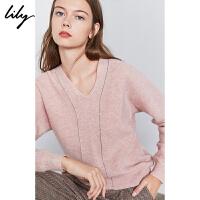 【100%纯羊毛】Lily冬新款全羊毛宽松蝙蝠袖毛针织衫8E11