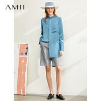 【到手价:161元】Amii极简设计感小众立领衬衫女2020春新款暗门襟中长开衩长袖上衣