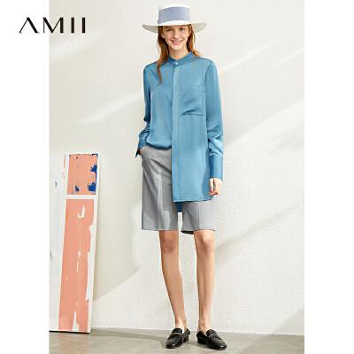 【品牌周到手价:161】Amii极简设计感小众立领衬衫女2020春新款暗门襟中长开衩长袖上衣 预售4月19日发货