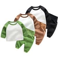 婴儿衣服3个月男6宝宝加绒保暖女童洋气套装秋冬装