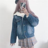秋冬女装韩版宽松仿羊羔毛牛仔棉衣加厚长袖短款外套学生夹克上衣