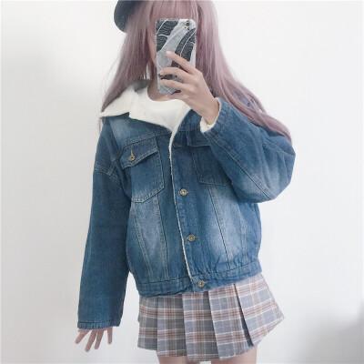 秋冬女装韩版宽松仿羊羔毛牛仔棉衣加厚长袖短款外套学生夹克上衣 一般在付款后3-90天左右发货,具体发货时间请以与客服协商的时间为准