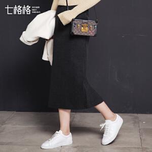 七格格高腰一步裙中长款纯色半身裙子韩版潮休闲运动开叉过膝女士包臀裙
