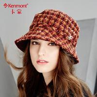 kenmont羊毛呢盆帽冬天女士帽子英伦圆顶镶钻小礼帽时尚保暖冬帽2461