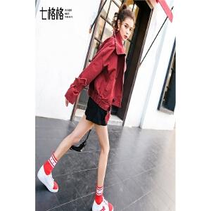 七格格红色牛仔外套女春秋季春装新款宽松学生韩版bf百搭短款棒球服