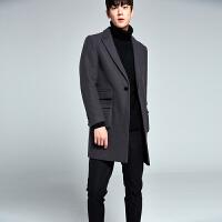 秋冬季男士毛呢大衣男装风衣中长款妮子外套口袋装饰韩风青年潮