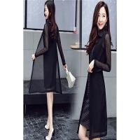 秋季时尚韩版优雅气质套裙无袖修身连衣裙薄纱披肩女两件套