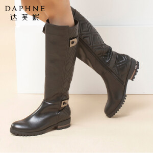 达芙妮冬季靴子女高筒百搭金属装饰 圆头低粗跟欧美侧拉链骑士靴