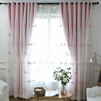 窗帘成品遮光布卧室客厅阳台飘窗落地窗公主风儿童房少女粉色女孩 布贴纱蝴蝶 粉色