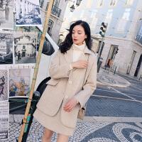 毛呢套装女2018新款韩版时尚气质小清新上衣配裙子两件套