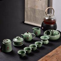创意家用玲珑陶瓷功夫茶具套装茶盘盖碗茶壶泡茶杯简约冲茶器送父亲送朋友