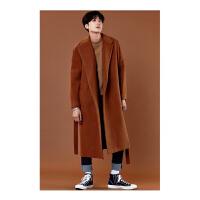 潮牌秋冬中长款风衣男羊毛呢大衣韩版超长宽松加厚呢子青年外套