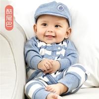 婴儿春秋季长袖哈衣爬服宝宝连体衣外出服