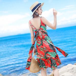 RANJU 然聚2018女装夏季新品新款沙滩裙海边度假女旅游裙波西米亚印花吊带裙