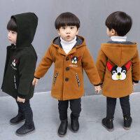 男童大衣毛呢外套�n版2秋冬�b�和�呢子�L衣中�L款