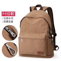 双肩包男士书包潮流帆布背包简约电脑包旅行包中学生书包男rh 浅咖(升级款)