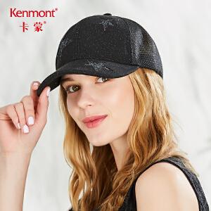 卡蒙个性棒球帽夏网面女透气潮街头潮人黑色鸭舌帽星星亮片太阳帽3547