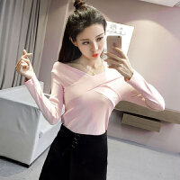 韩观秋季新款女装性感纯色交叉V领修身显瘦学生长袖打底衫T恤上衣女 均码